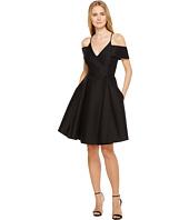 Halston Heritage - Short Sleeve Cold Shoulder V-Neck Silk Faille Dress