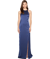Halston Heritage - Sleeveless High Neck Satin Gown w/ Back Drape