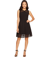 Tahari by ASL Petite - Petite Mesh Stripe Trim Dress