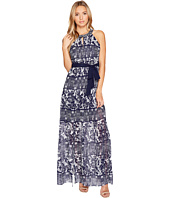 Vince Camuto - Printed Chiffon Halter Maxi w/ Inset Pleating