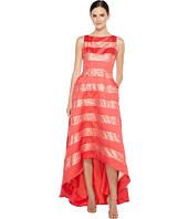 Adrianna Papell - Striped Lace & Mikado Hi-low Dress