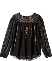 Ella Moss Girl - Kera Eyelash Chiffon Top with Embroidery (Big Kids)