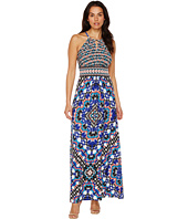 London Times - Ikat Mix Keyhole Halter Maxi