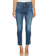 NYDJ Petite - Petite Ami Skinny Ankle Jeans w/ Fray Side Slit in Crosshatch Denim in Newton