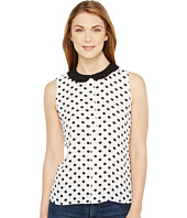 CeCe - Sleeveless Equator Dot Peter Pan Collar Blouse