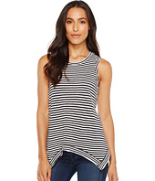 Dylan by True Grit - Slub Cotton and Linen Stripe Sleeveless Hanky Hem Tank Top