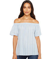Dylan by True Grit - Bungalow Stripe Raglan Off Shoulder Top
