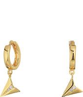 Rebecca Minkoff - Huggie Hoop Earrings with Paper Plane Charm