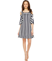 Taylor - Striped Cold Shoulder Trapeze Dress