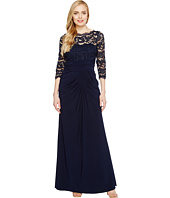 Adrianna Papell - Lace and Draped Jersey Gown