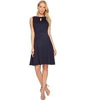 Ellen Tracy - A-Line Scuba Dress with Keyhole Detail