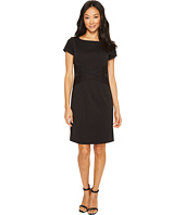 Ellen Tracy - Short Sleeved Ponte Dress with Waist Detail