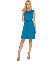 Ellen Tracy - A-Line Ponte Dress with Zipper Detail and Waist Tie