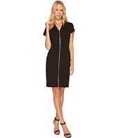 Ellen Tracy - Short Sleeved Ponte Dress with Front Zipper