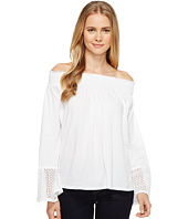 Three Dots - Trellis Lace Peasant Top