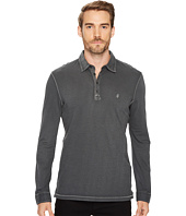 John Varvatos Star U.S.A. - Long Sleeve Soft Collar Rugby with Peace Sign Embroidery and Woven Trim Details