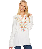 Dylan by True Grit - Embroidered & Eyelet Slub Challis Button Shirt with Floral Embroidery