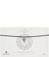 Dogeared - Mandala Small Center Circle Choker Necklace on Black Leather Cord