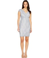 Sangria - Short Sleeve V-Neck Metallic Lace Sheath
