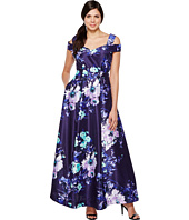 Sangria - Cold Shoulder Floral Print Evening Gown with Pockets