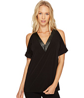MICHAEL Michael Kors - Faux Leather V-Neck Cold Shoulder