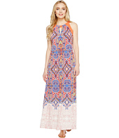 London Times - Retro Medallion Halter Maxi Dress