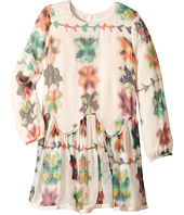 Chloe Kids - Couture Mini Me Long Sleeve Watercolored Details Dress (Little Kids/Big Kids)