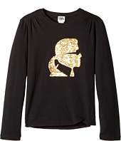 Karl Lagerfeld Kids - Long Sleeve Graphic Tee with Gathering On The Shoulders (Big Kids)