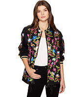 Nicole Miller - Whimsical Jungle Leather Embroidered Bomber