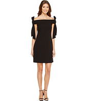Donna Morgan - Sleeveless Crepe Dress with Bow Details at Shoulder