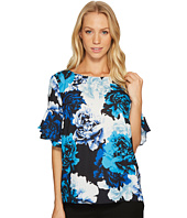 CeCe - Tiered Ruffle Sleeve Stately Bouquet Blouse