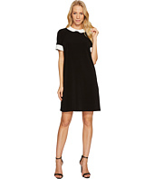 CeCe - Short Sleeve Pleat Collar Mix Media Knit Dress