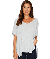TWO by Vince Camuto - Short Sleeve Plaited Traveling Stitch Boxy Pullover