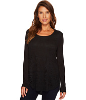 Tribal - Long Sleeve Scoop Neck Top w/ Cut Out