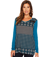 Tribal - Long Sleeve Woven Front V-Neck Printed Top