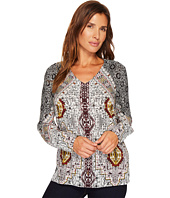 Tribal - Long Sleeve V-Neck Printed Blouse