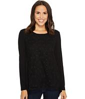 Tribal - Long Sleeve Crochet Lace Front Blouse w/ Back Pleat Detail