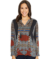Tribal - Long Sleeve Printed Blouse w/ Tassel at Collar