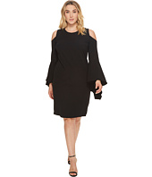 Vince Camuto Specialty Size - Plus Size Handkerchief Sleeve Cold-Shoulder Dress