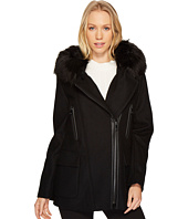 Calvin Klein - Wool Asymmetric PU Trim with Removable Fur Trimmed Hood