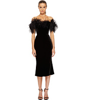 Marchesa - Off the Shoulder Velvet Dress w/ Ostrich Feathers