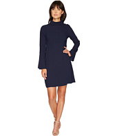 Vince Camuto - Fold-Over Collar Flutter Cuff Flare Dress