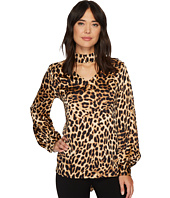 Vince Camuto - Long Sleeve Exotic Animal Choker V-Neck Blouse