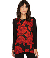 Vince Camuto - Long Sleeve Wood Block Floral Mix Media Top
