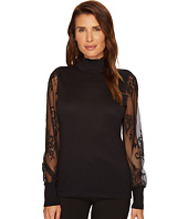 Vince Camuto - Lace Sleeve Mock Neck Sweater