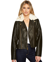 French Connection - Faux Leather Moto Jacket with Shearling Collar