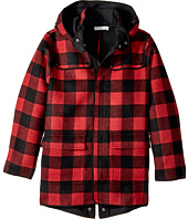 Stella McCartney Kids - Beet Checkered Wool Coat w/ Detachable Hood (Toddler/Little Kids/Big Kids)