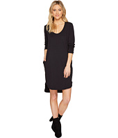 HEATHER - Cotton French Terry Long Sleeve Scoop Dress