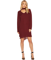 HEATHER - Sloan Silk Peekaboo Neck Long Sleeve Mod Dress