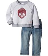 Hudson Kids - Two-Piece Reverse French Terry Pullover Indigo Kit Denim Pants (Infant)